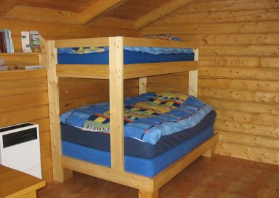 Queen size bed and single bunk bed